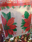 VINTAGE PLASTIC TABLECLOTH POINSETTA HORSE ORNAMENTS ORIGINAL HARD TO FIND