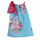 Little Girls Light Blue Polka Dotted Floral Print Pillowcase Dress 1-5Y