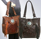 Trinity Ranch® Concealed Carry, Tooled Leather & Fringe Tote-5 Color Choices