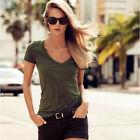 Brand New Women Casual Solid Army Green Tops V-neck Short Sleeve  Basic T-shirts