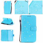 Bling Flip Glitter Butterfly Pattern PU Leather Case Wallet Card Stand Cover