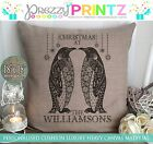 PERSONALISED CHRISTMAS AT THE PENGUIN CUSHION CANVAS BEIGE MOM DAD GIFT UNIQUE