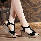 Brand New Women Fashion Casual Zipper Wedge Heel Sandals Peep-toe Pump Shoes
