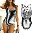 Sexy Womens Bikini Push Up Padded Retro Striped One Piece Swimsuit Swimwear FE