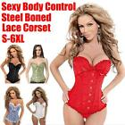 Sexy Corset Steampunk Women Lace Up Boned Bustier Waist Cincher Plus Size S-6XL