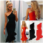 Womens Bodycon One Shoulder Party Dress Ladies Mermaid Cocktail Evening Dress