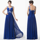 New Women Boho BLUE Formal Evening Party Long Maxi Chiffon Satin Dress Size 6-20