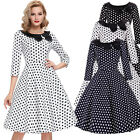 1950S 3/4 Sleeve Polka Dots Retro Vintage Party Picnic Tea Dress Womens Mini New