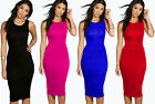 Womens Ladies Sleeveless Stretch Plain Bodycon Jersey Long Maxi Midi Dress Top