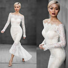 Sexy Women Shoulder Off Fishtail Lace White Dress  Long Sleeve Wedding Wear