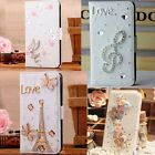 New 3D bling FLIP book WALLET card LEATHER CASE COVER holster Carrying