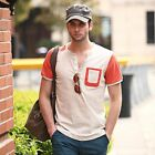 Casual Round Collar Short Sleeve Front Pocket Color Block T-Shirt for Men