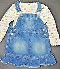 Cherokee set girl top shirt overall skirt 18 24mon 2T hearts jean long sleeve