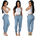 Womens Baggy Denim Harem Trousers High Waist Cuffed Jeans Joggers Summer Pants