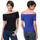 Womens Summer Short Sleeve Casual Blouse Off Shoulder Cotton T-Shirt Stylish Top
