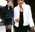New Women Winter Warm Faux Rabbit Fur MINI Coat Slim Trench Jacket Overcoat Tops