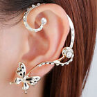 crystal butterfly Punk Rock Earring stud Anchor Ear Cuff Wrap gift golden set UK