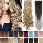 AU Real 8PC 18 Clips Clip In Hair Extensions Hairpiece Hair Extentions Human f3w