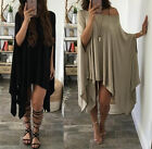Womens Sexy Boho Casual Long Tops Summer Off Shoulder Loose Mini Dress plus size