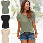 Women's Summer Ladies Tassels Short Sleeve Loose T-Shirt Casual Top Blouse