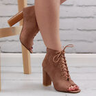 Womens Brown Chunky Block High Heel Lace Up Ankle Shoe Boots Ladies Booties Size
