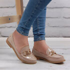 Womens Nude Patent Loafers Flats Work Office School Fashion Ladies Shoes Size