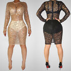 New Sexy WomenBodycon See-Through Sequined Long Sleeve Net Mini Dress Plus Size