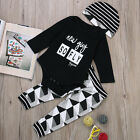 3PCS Newborn Baby Boy Girl Cute Tops Romper Long Pants Hat Outfits Clothes 0-24M