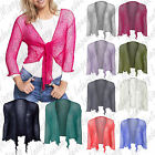 Womens Tie Up 3/4 Sleeve Ladies Fine Knit Bolero Cropped Stretchy Shrug Top 8-14