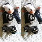 Newborn Kids Baby Boys Long Sleeve Striped T-shirt + Pants Outfits Clothes Set