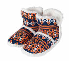 Chicago Bears Woman's White Faux Fur Aztec Sherpa Boot Slippers NFL Football