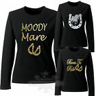 HORSE RIDING t-shirt LADIES GIRL`S Moody Mare Equestrian LONG SLEEVE T SHIRT