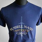 Russell Nash Antiques Highlander Movie Themed Retro T Shirt Vintage Cool Blue