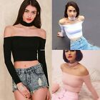 Fashion New Women Cotton Slim Off Shoulder Shirt Crop Tops Long Sleeve Blouse