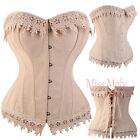 Sexy Vintage Cream Victorian Floral Corset Basque With Lace Trim - 9 Sizes 6-24