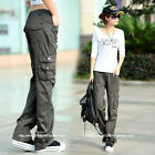 women pockets casual loose sports outdoor straight leg long trousers overalls sz