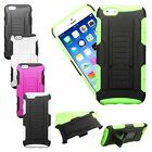 """For iPhone 6 6S 4.7"""" Heavy Duty Rugged Hybrid Armor Stand Dual Holster Case"""