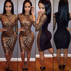 Women's Sexy Shiny Sequins Bodycon 3/4 Sleeve Clubwear Short Party Evening Dress