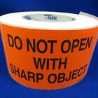 """Do Not Open With Sharp Object 3""""x5"""" - Packing Shipping Handling Warning Label St"""