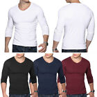 New Men\'s V Neck Tops Tee Shirt Slim Fit Long Sleeve Solid Color Casual T-Shirt