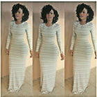 New Womens' Long Sleeve Striped Slim Cocktail Elegant Formal Party Long Dress K