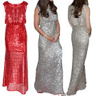 Ladies Women Sleeveless Sequins Long Gown Party Cocktail Bridesmaid Maxi Dress