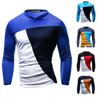 Men's Fashion Casual Slim Fit Patchwork Crew-neck Long Sleeve Tops Tee T-shirt