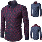 Men's Formal Slim Fit Smart Casual Long Sleeve Shirt Fashion Flower Prints Tops