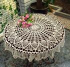 Beige Cotton 35'' Round Handmade Crochet Lace Tablecloth Doily Doilies(N06)