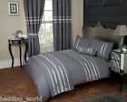 GLITZ GREY SILVER RIBBON 200 THREAD COUNT COTTON LUXURIOUS BEDDING OR CURTAINS