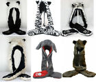 3 in 1 Faux Fur Animal Hood Hat with Scarf Zipper Pocket Cosplay Hat 6 Styles US