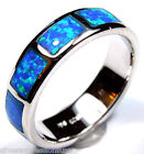 Endless Blue Fire Opal Inlay 925 Sterling Silver Eternity Band Ring sz 6 - 11.5