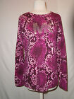 MICHEAL KORS WOMAN'S PURPLE EMBELLISHED SNAKE PRINT TOP SIZE LARGE