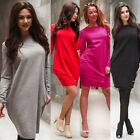 Casual Womens Ladies Long Sleeve O Neck Loose Mini Dress Party Cocktail Clubwear